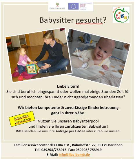 Babysitter aushang Wie Schreibt